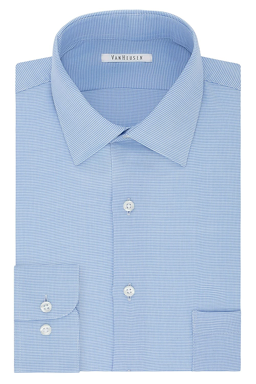 Van Heusen Mens Regular Fit Micro Houndstooth Spread Collar Dress Shirt 20F6429