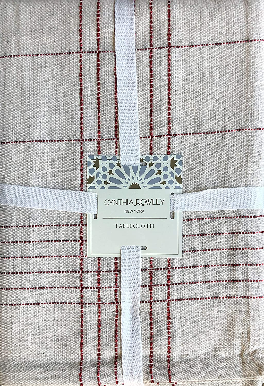 Cynthia Rowley New York Holiday Fabric Tablecloth Thin Metallic Red Stripes in a Crosshatch Pattern on a Natural Tan Ecru Background - Kashi Cotton Flax, 60 Inches by 108 Inches