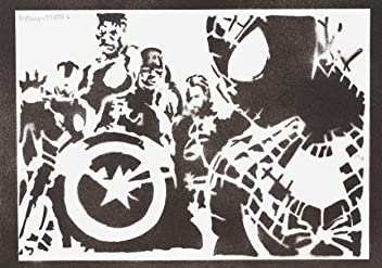 The Avengers Poster Handmade Graffiti Street Art - Artwork