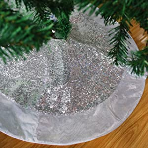 Houwsbaby Luxury Scale Silver Sequin Christmas Tree Skirt with Glitter Satin Border Sparkle Paillette Decor Double Layers Xmas Mat Ornament Holiday Party Supply Tie Closure, 32'' (02)