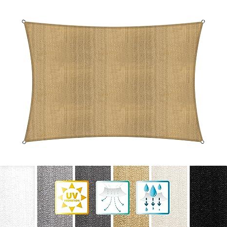 Lumaland toldo vela de sombra 100% polietileno de alta densidad filtro UV incl cuerdas nylon