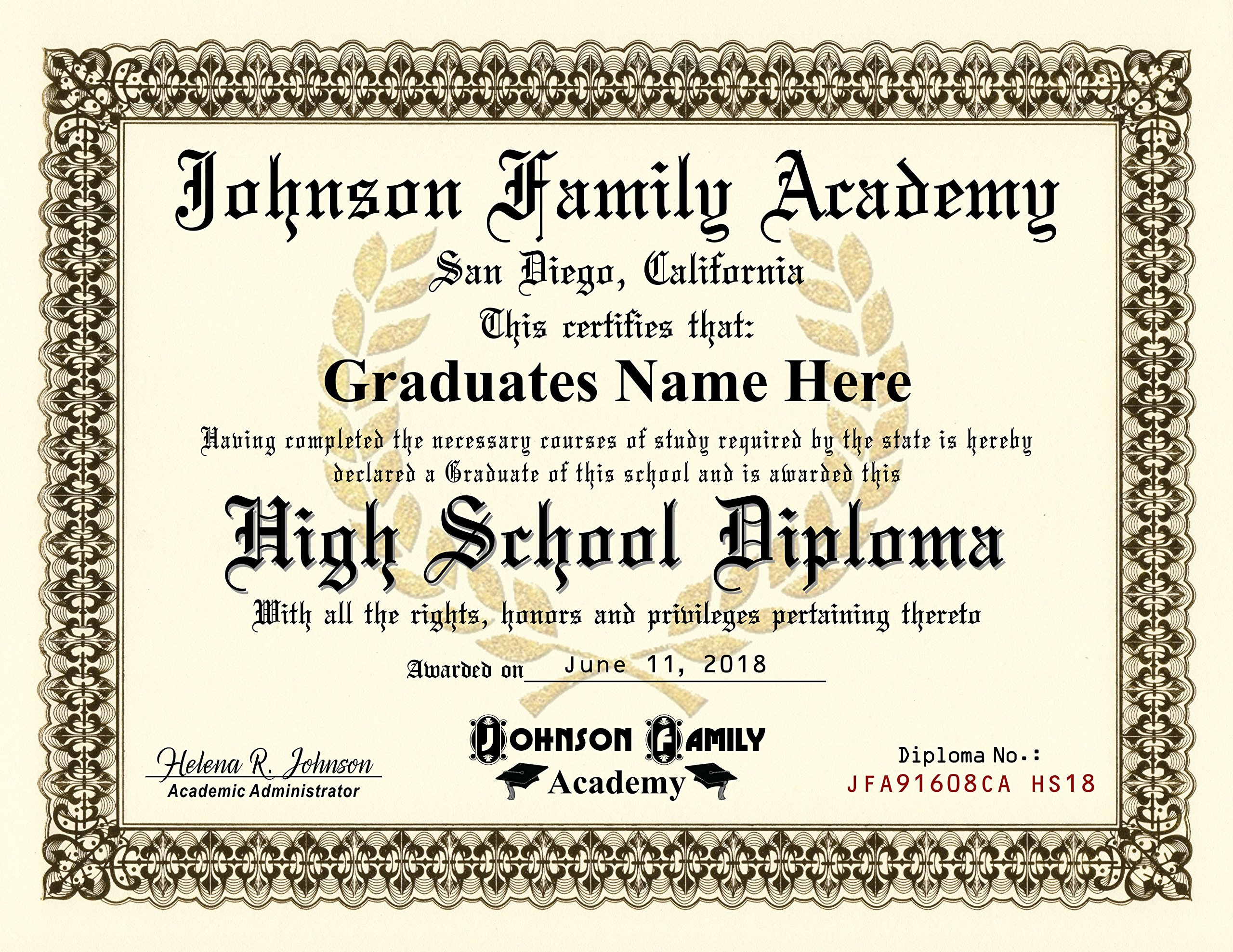 Homeschool Diploma - Highschool Diploma - FREE CUSTOMIZATION - 8.5 by 11 inches Premium Quality