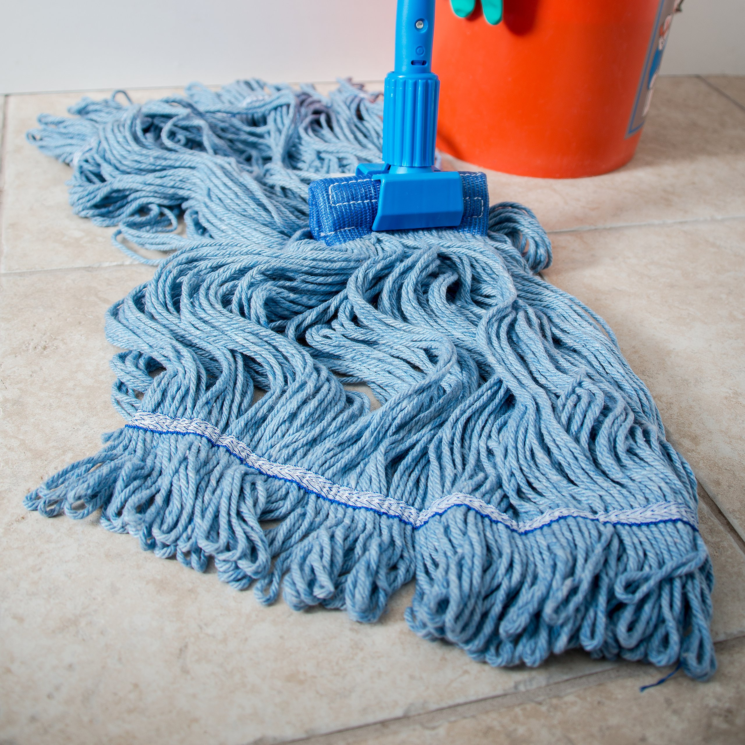 Carlisle 36946014 Looped-End Premium Mop Head With Blue Band, X-Large, Blue by Carlisle (Image #6)