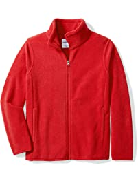 Amazon Essentials Big Boys' Full-Zip Polar Fleece Jacket, Strong Red, X-Large