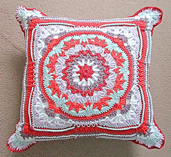 Handmade Throw Cushion Square Pattern Cushion Crocheted Cotton Yarn