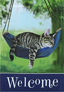 "G128 - Home Decorative Garden Flag Decorated with Sleeping Cat and Welcome Quote 12"" x 18"""