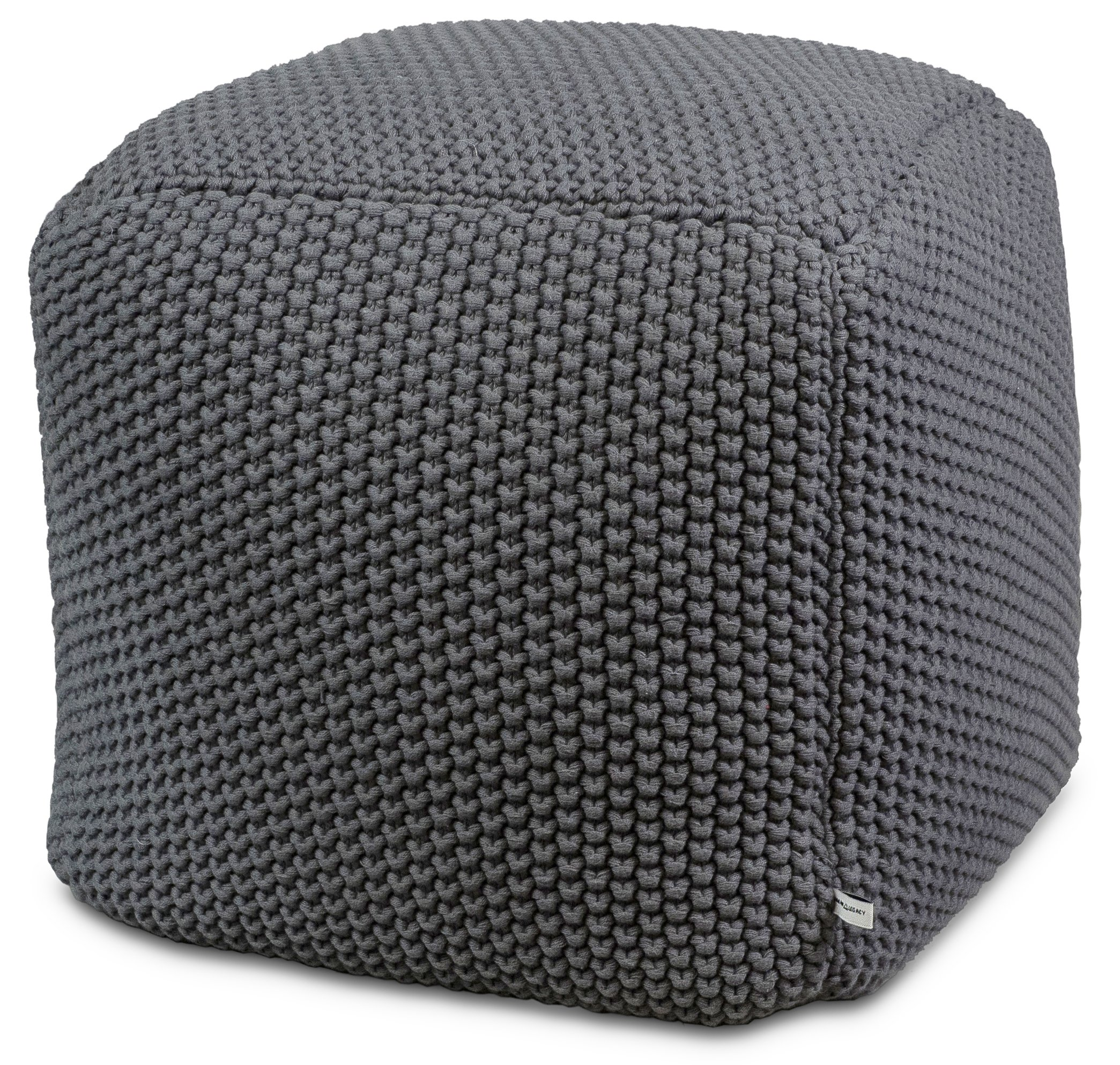 Urban Legacy Crocheted/Knitted Ottoman Pouf (100% Cotton, Handmade, Square, Beautiful, Soft and Lightweight, Available in Four Colors) | by (Gray)