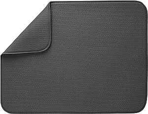 """S&T INC. 530101 XL Dish Drying Mat, 18"""" x 24"""", Charcoal"""
