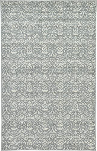 Unique Loom Damask Collection Traditional Floral Gray Area Rug 5 0 x 8 0