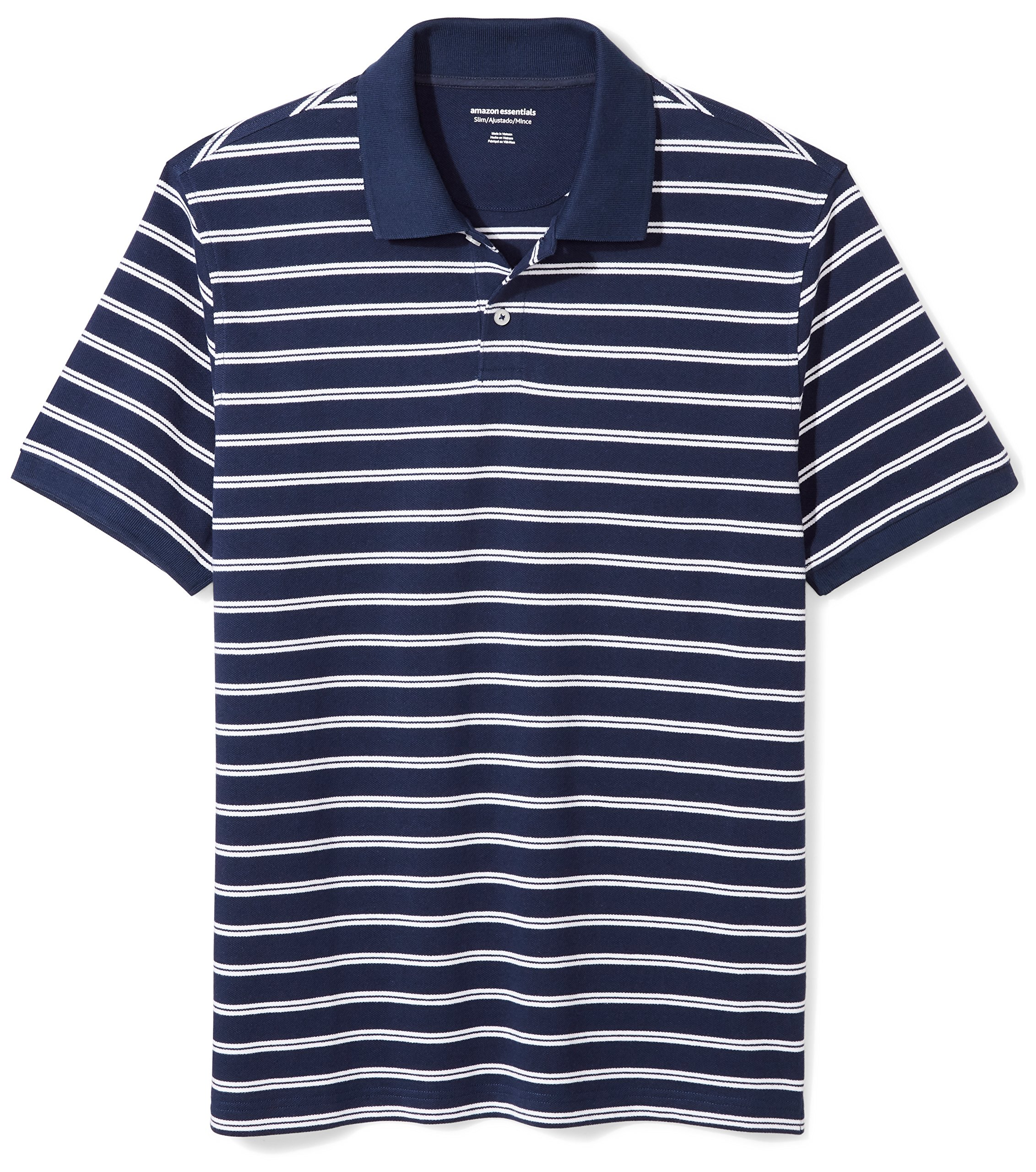 Amazon Essentials Men's Slim-Fit Striped Cotton Pique Polo Shirt, Navy/White Stripe, Large