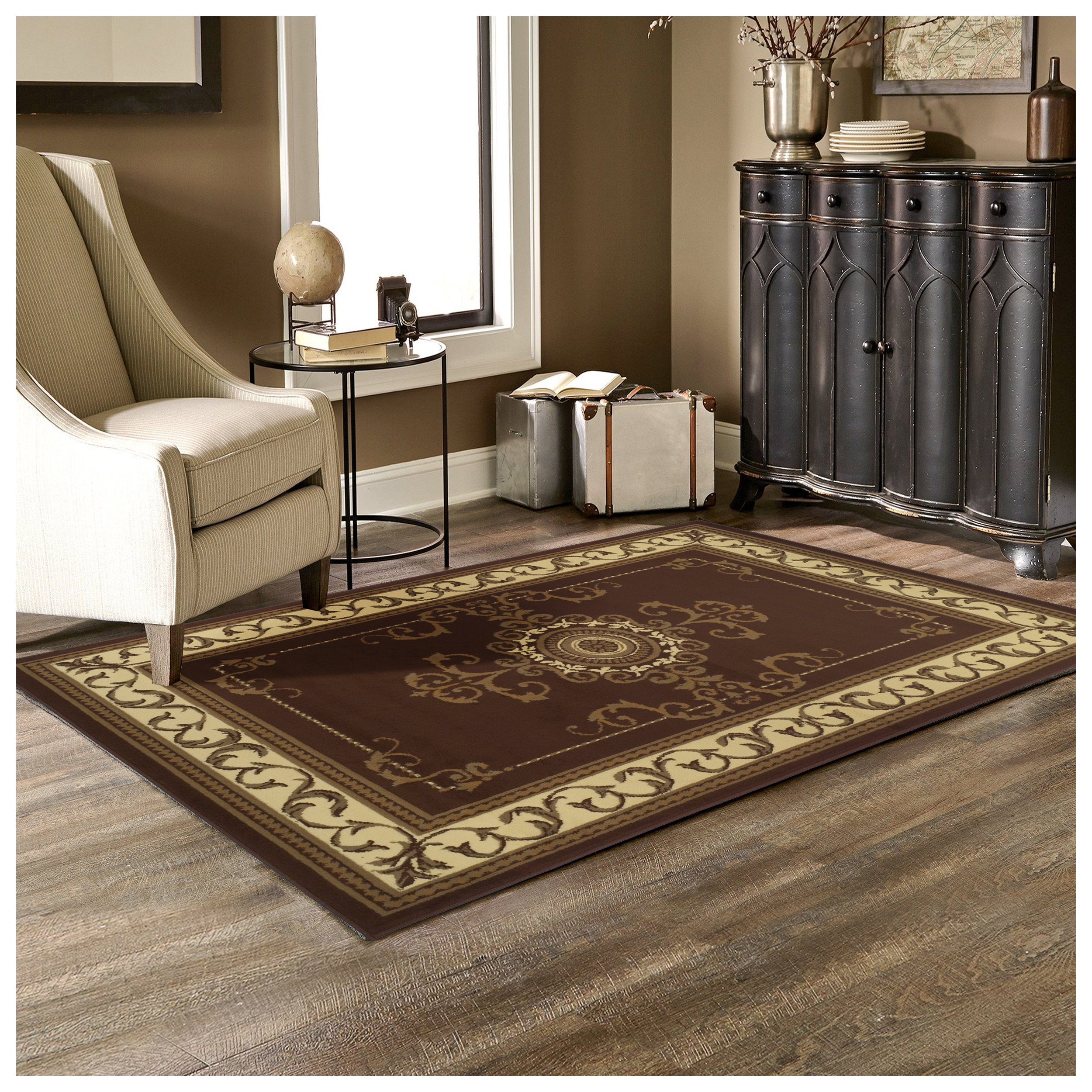 Superior Kensington Collection 5' x 8' Area Rug, Attractive Rug with Jute Backing, Durable and Beautiful Woven Structure, Regal Medallion Rug with Classic Border