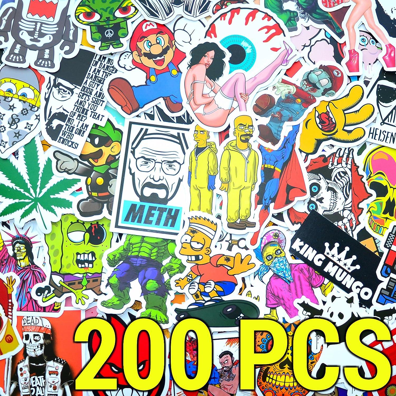KingMungo 200 Stü ck Aufkleber! 200pcs Stickers fü r Auto, Fahrrad, Skateboard, MacBook, Quad, Motorrad. Sticker Set individuell KMST003