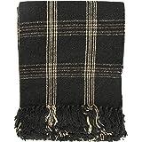 Creative Co-op DF3609 Plaid Black & Tan Fringed Woven Cotton Blend Throw, Black