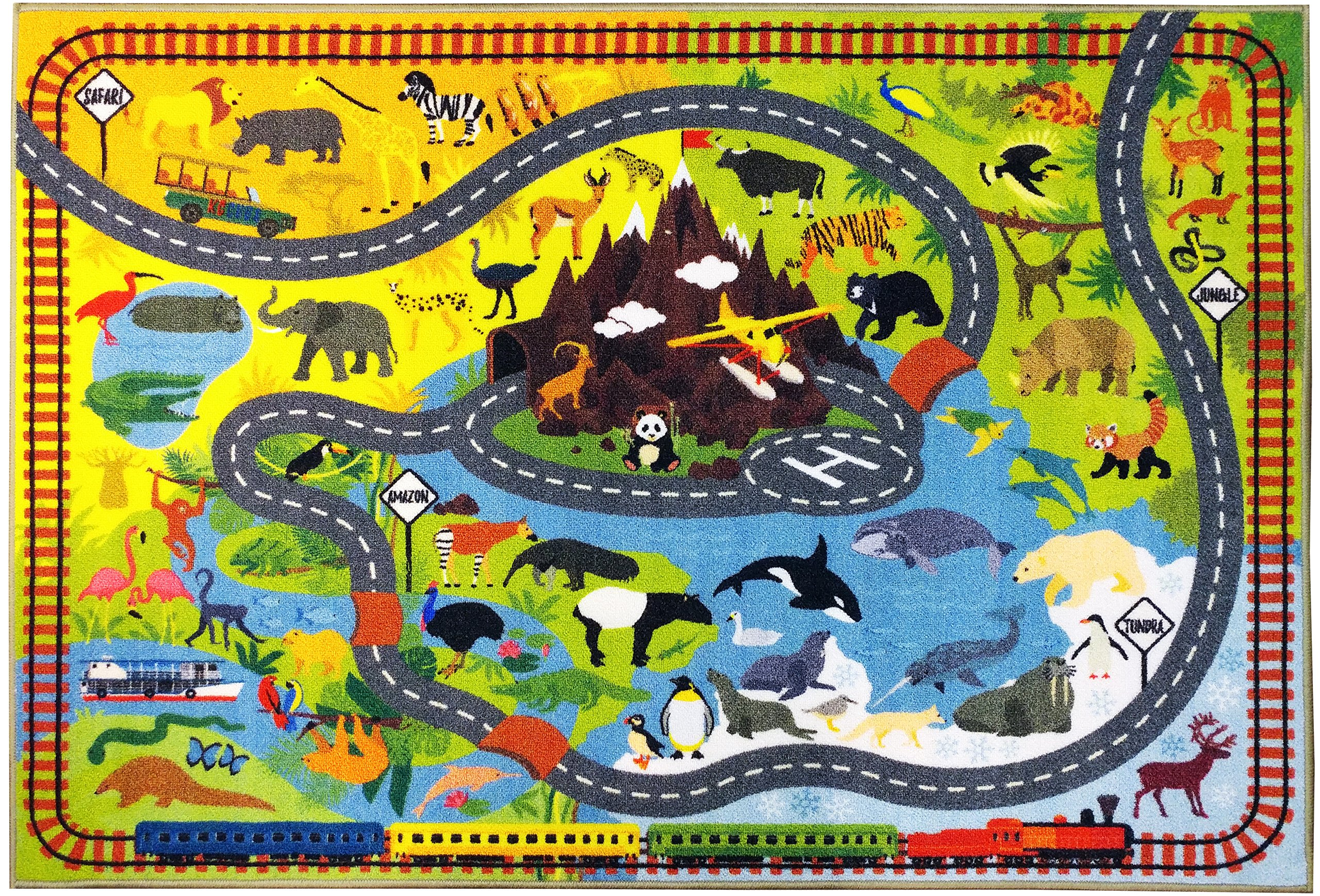 KC CUBS Playtime Collection Animal Safari Road Map Educational Learning and Game Area Rug Carpet for Kids and Children Bedrooms and Playroom (5' 0'' x 6' 6'')