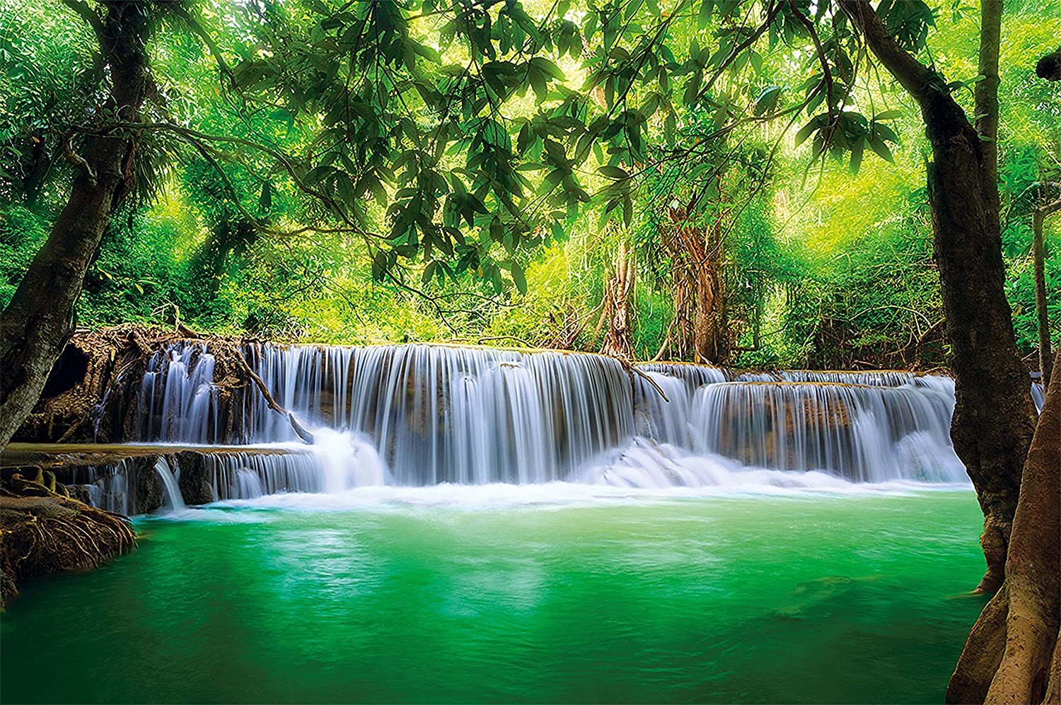 Great Art Wallpaper Feng Shui Paradise Waterfall Wall Picture Decoration Nature in Thailand Asia Wellness Spa Wall Decor (132.3 x 93.7 Inch)
