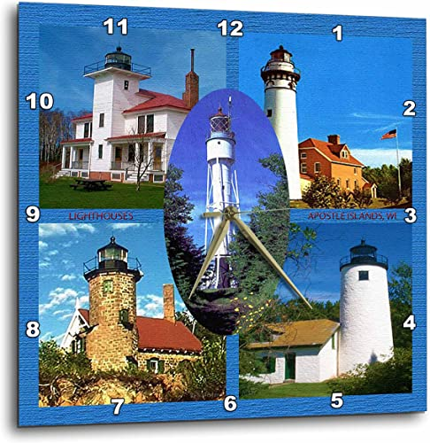 3dRose Lighthouses, Apostle Islands – Wall Clock, 15 by 15-Inch DPP_41219_3