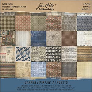 Tim Holtz Idea-ology Paper Stash, Dapper, 36 Sheets of 12 x 12 Inch Double-sided Cardstock Papers in Brown, Beige, Brown (TH93260)