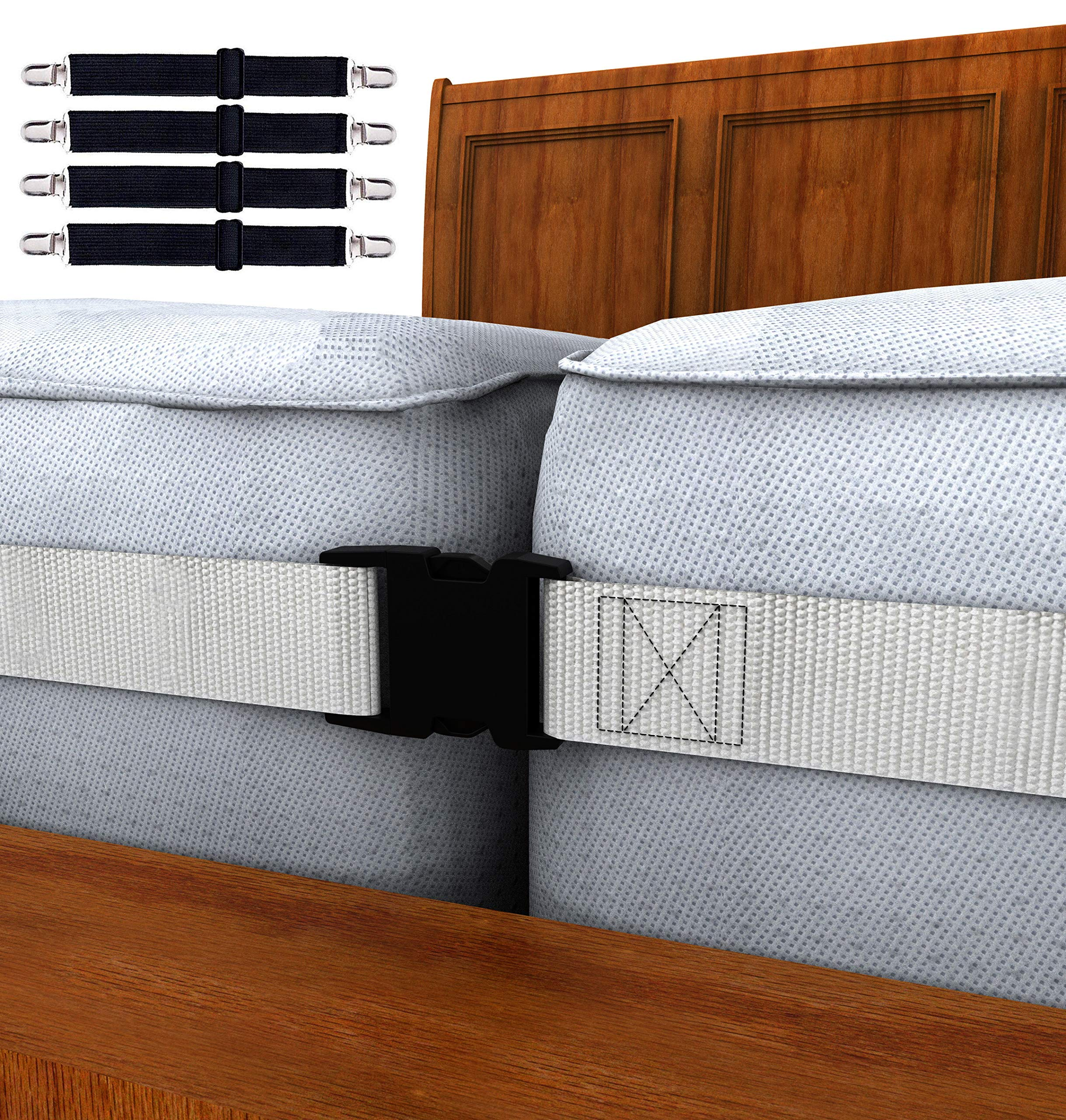 Twin to King Bed Strap Connector Kit - 2 Inch Wide Mattress Joiner Strap & 4 Adjustable Bed Sheet Fasteners -Perfect Solution to Hold in Place Twins Mattresses & Bed Sheets