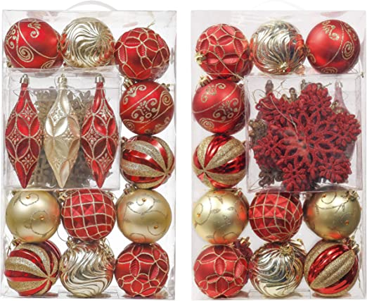 Unique Christmas Gifts Traditional Gold and Red Christmas Ornaments Set Handmade Unbreakable Crochet Christmas Balls and Jingle Bell