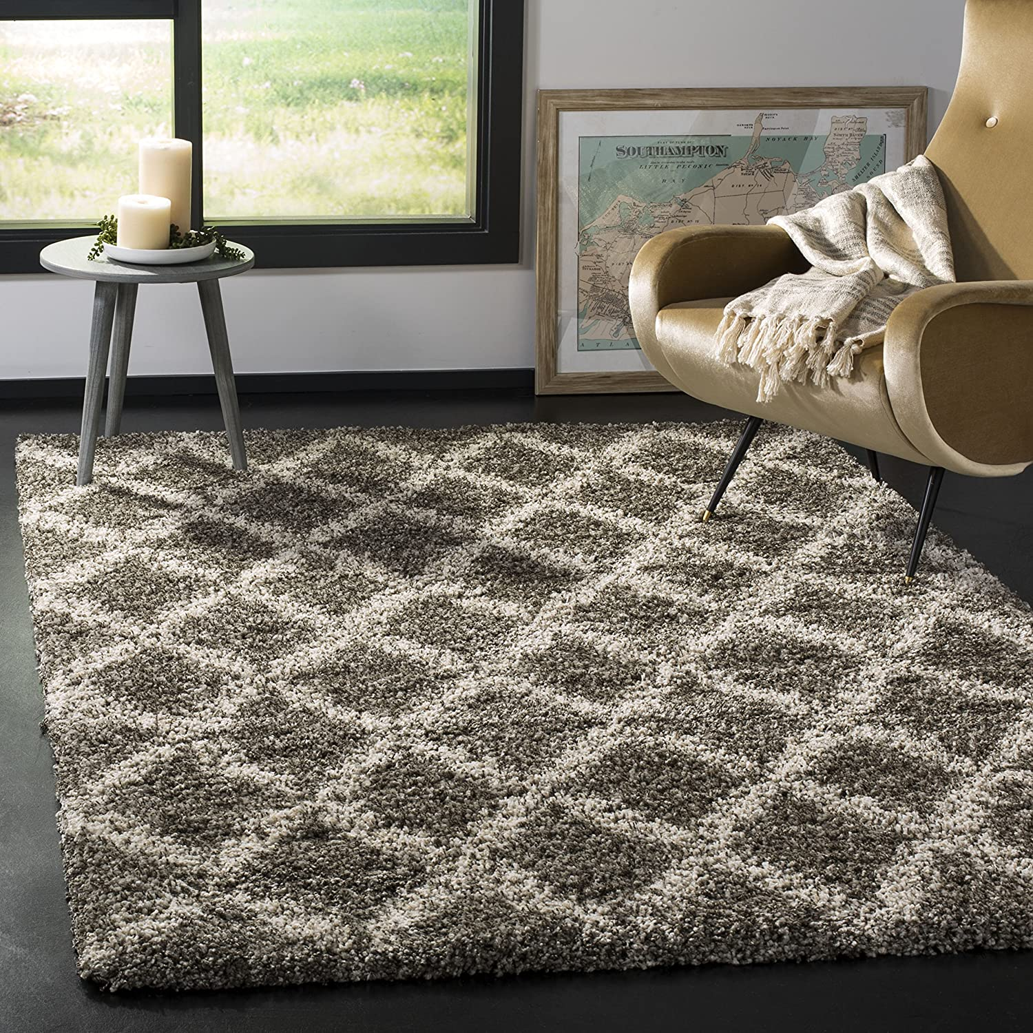 Safavieh Hudson Shag Collection SGH333B Trellis 2-inch Thick Area Rug, 9' x 12', Grey/Ivory