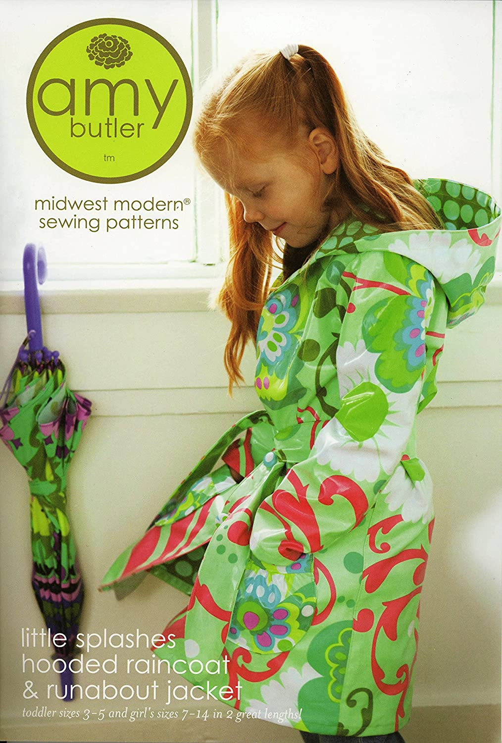Amy Butler Little Splashes Children's Hooded Raincoat and Runabout Jacket Sewing Pattern by Amy Butler   B003N8QP5U