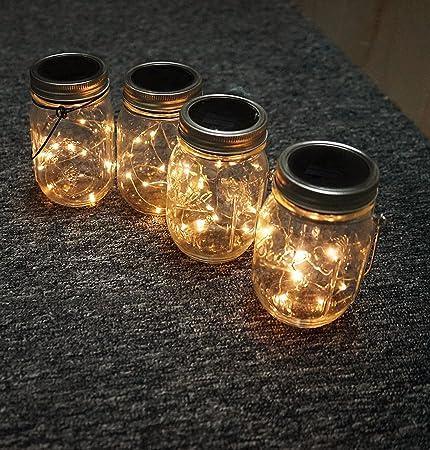 Amazon.com : Solar Mason Jar Hanging Lights, 4 Pack 20 LEDs (Mason Jar U0026  Hanger Included) Warm White Waterproof Fairy Firefly Led String Mason Jar  Lights, ...