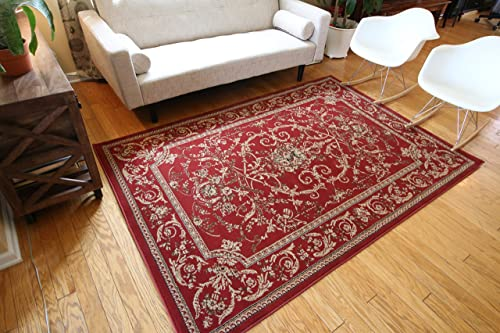 New City Traditional Isfahan Floral Persian Wool Area Rug, 5 2 x 7 3, Red