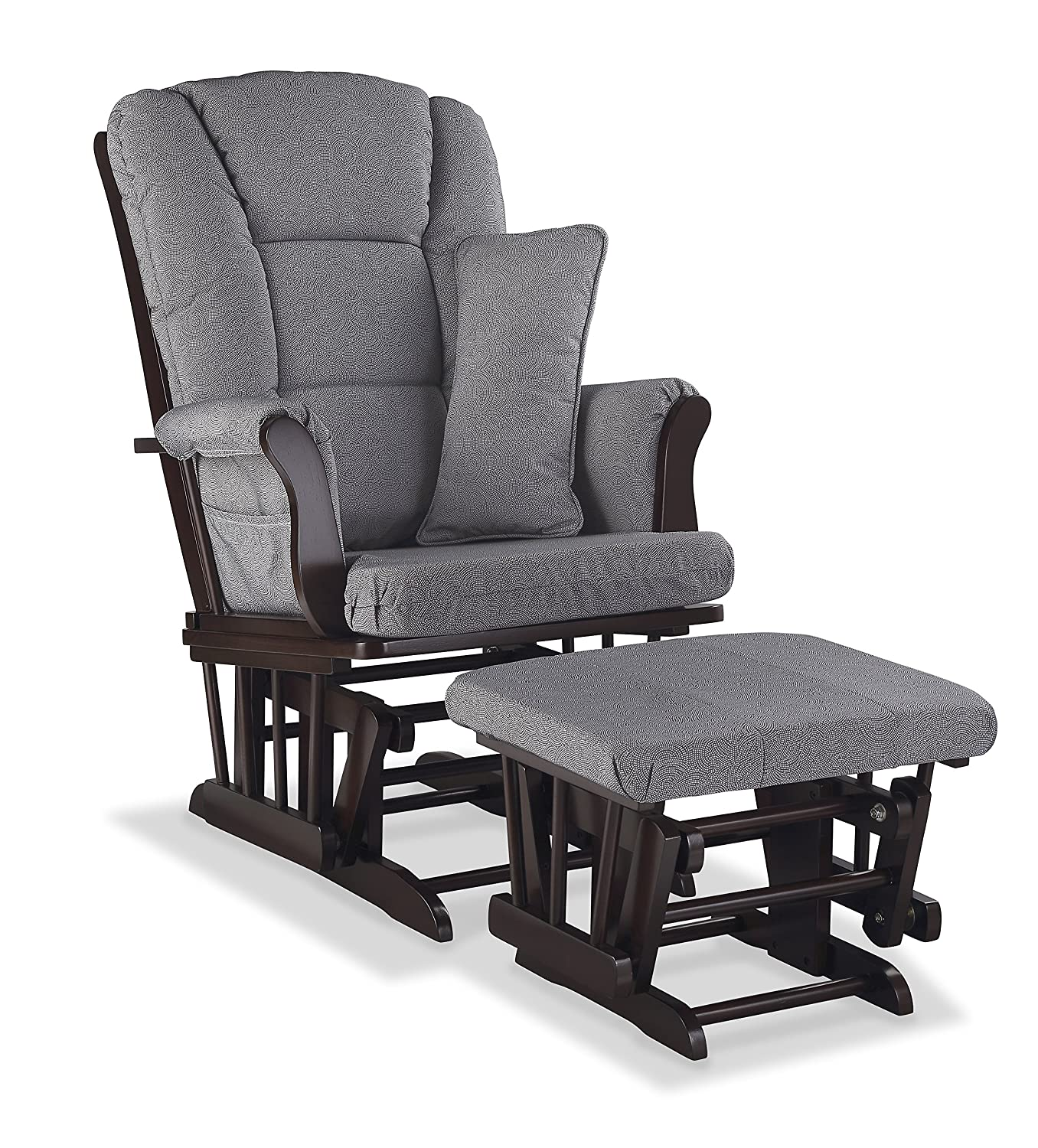 Storkcraft Tuscany Custom Glider and Ottoman with Free Lumbar Pillow, Espresso/Slate Gray Swirl Stork Craft 06554-559