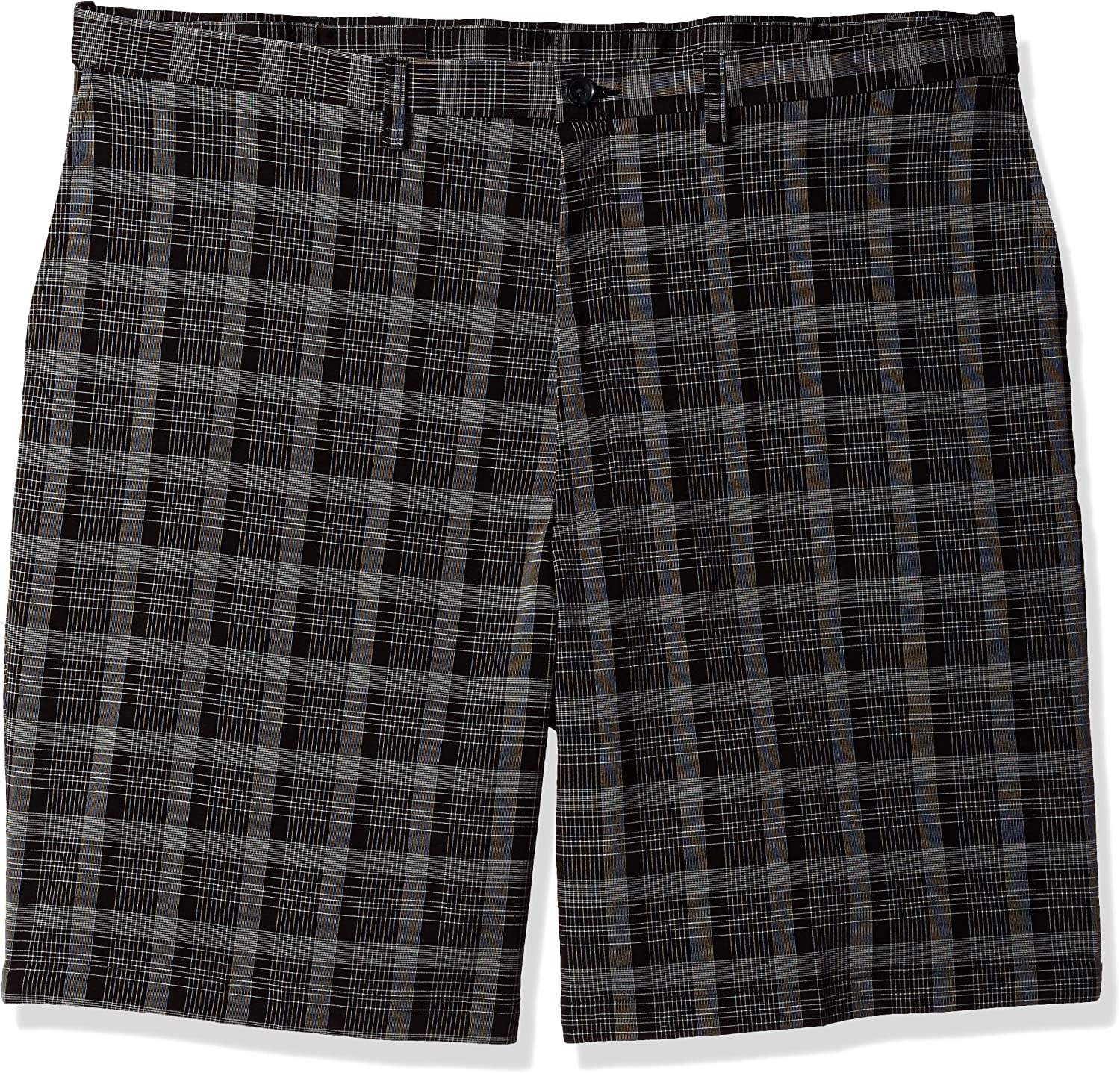Haggar Men's Big and Tall B&t Cool 18 Pro Classic Fit Pinstripe Plaid Flat Front Short