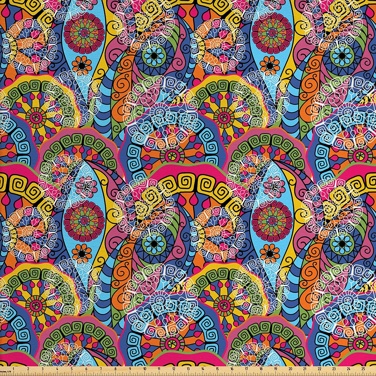 Ambesonne Mandala Fabric by The Yard, Colorful Abstract Sixties Inspired Pattern Flower Design with Stripes Lines, Decorative Fabric for Upholstery and Home Accents, 3 Yards, Pale Blue