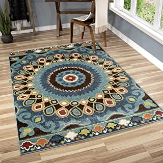"product image for Orian Rugs Veranda Indoor/Outdoor Indo China Area Rug, 5'2"" x 7'6"", Admiral Blue"