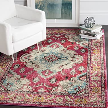 Safavieh Monaco Collection Vintage Oriental Bohemian Pink and Multi Distressed Area Rug (6'7  x 9'2 )