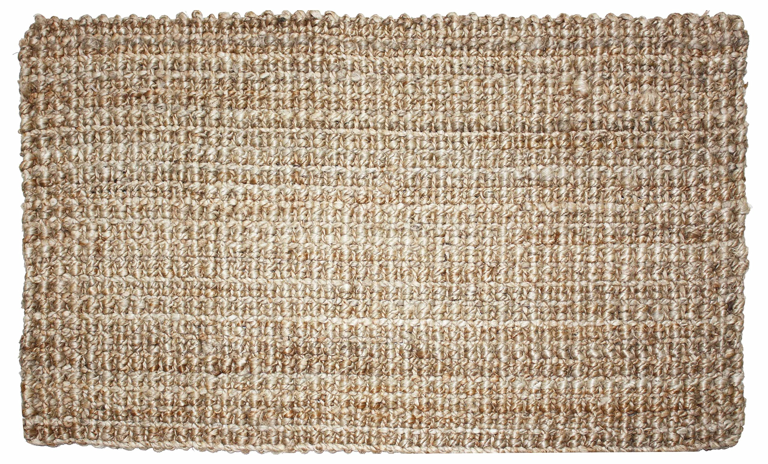 "Neutral Eco-Friendly Sturdy Rolled Natural Indoor/Outdoor Jute Rug, 24x36"", Reversible for double the wear-Gold - QUALITY YOU CAN RELOY ON: Rug measures 24x36"", made of durable 100% Jute, a shiny vegetable fiber spun into coarse threads. SCRAPE DIRT & EASY CARE: Easily scrape off dirt, dust, grit, mud, grass or snow. GREAT RUG TO COORDINATE WITH ANY HOME DÉCOR: The Natural and Neutral tones fit with any homde and office style and color. - living-room-soft-furnishings, living-room, area-rugs - A1RkazIIhDL -"
