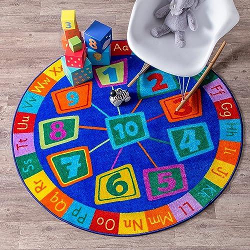 nuLOOM Number Circles Kids Round Rug, 8 Round, Blue