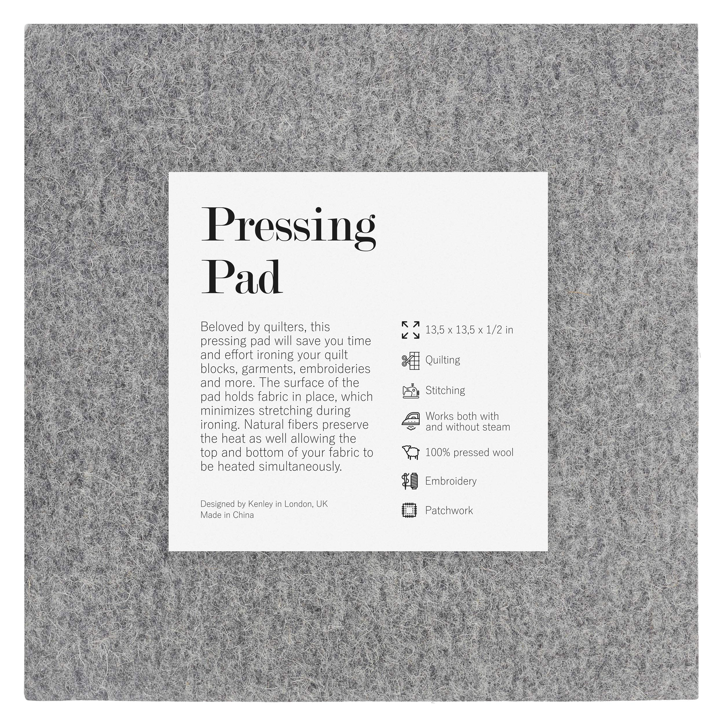 Kenley Wool Pressing Mat for Quilting - 13.5x13.5 Inches Wool Ironing Pad for Quilters - Portable Heat Press Iron Craft Mat for Travel or Classes - Accessories and Gifts for Quilting Embroidery Sewing by Kenley