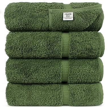 Chakir Turkish Linens Luxury Hotel & Spa Bath Towel Turkish Cotton, 27  x 54 , Set of 4 (Moss)