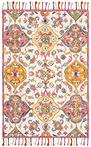 Safavieh Blossom Collection Floral Vines Premium Wool Area Rug, 4 x 6 , Ivory Multicolored