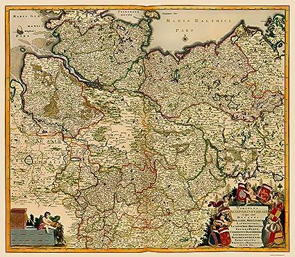 Map Of Old Germany.Amazon Com Old Germany Map Saxony De Witt 1688 23 X 26 36