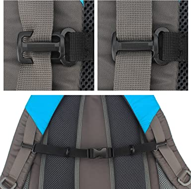 4pcs Nylon Webbing Strap Backpack Quick Release Buckle Clip Chest Strap Gray