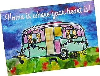 Wohnwagen Postkarte 2 Stück Home is where my heart is A6 Deko AnneSvea Trailer postcard Urlaubsgrüße Camper Camping