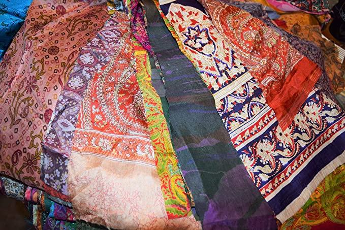 CA LOT PURE SILK Antique Vintage Sari REMNANT Fabrics 100 GRAMS Grey #ABDEM