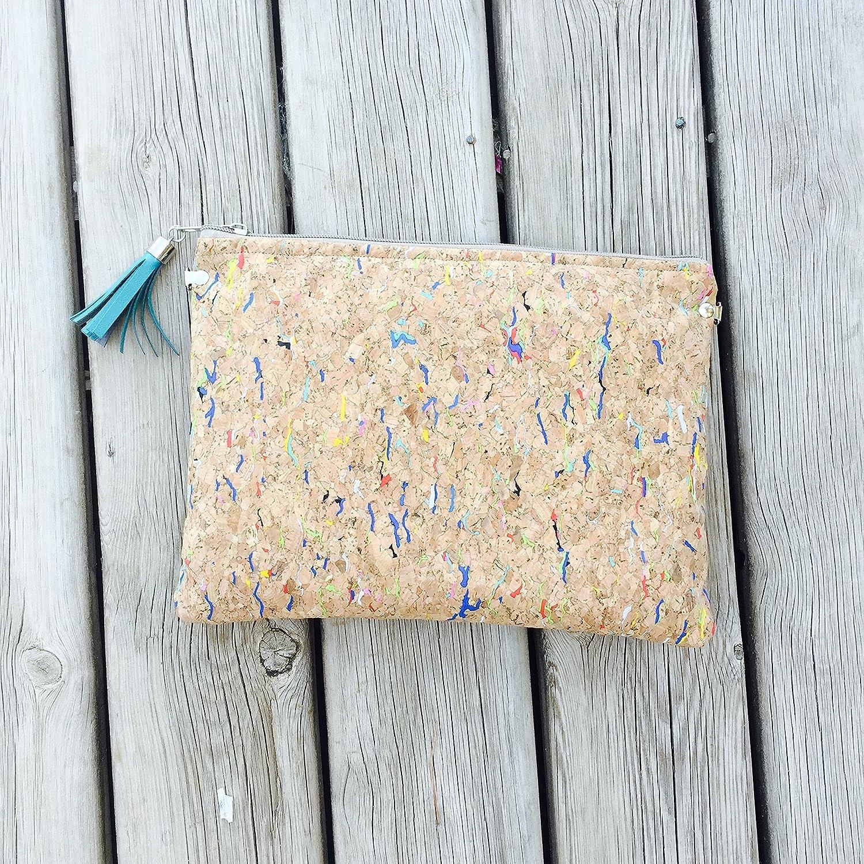 clutch vegan eco friendly with shoulder strap Cork Clutch Bag handbag in cork fabric bohem ethnic