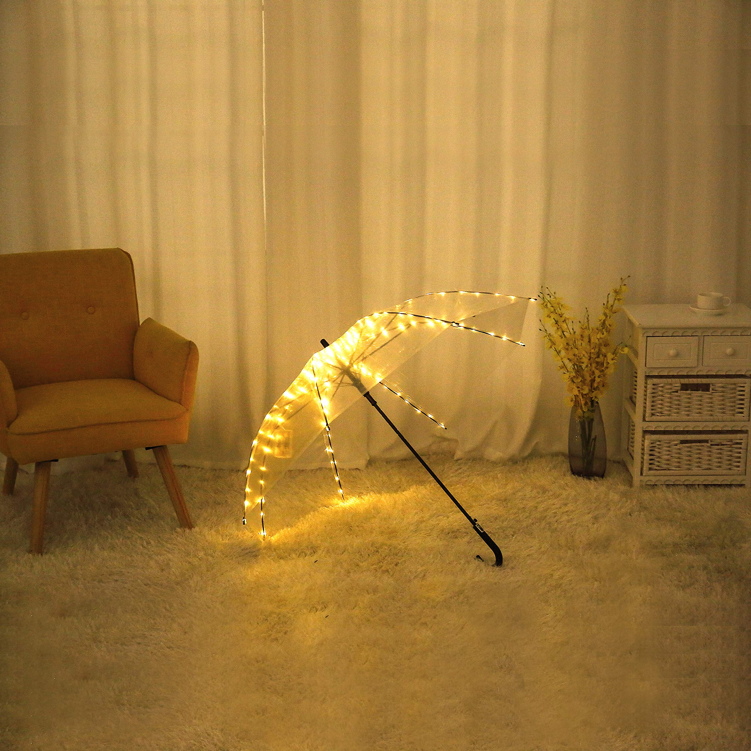 Areskey Transparent Umbrella,LED Light Umbrella,an Transparent Clear Umbrella Including Warm White Starry Lights,104 LED Decor Lights for Wedding,Travel,Summer,Night