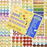 5800 pcs Teacher Stickers for Kids Reward Stickers Mega Variety Pack Incentive Stickers for Teacher Supplies Classroom Supplies 18 Design Themes Including 3D Heart Face Star Owl Cupcake