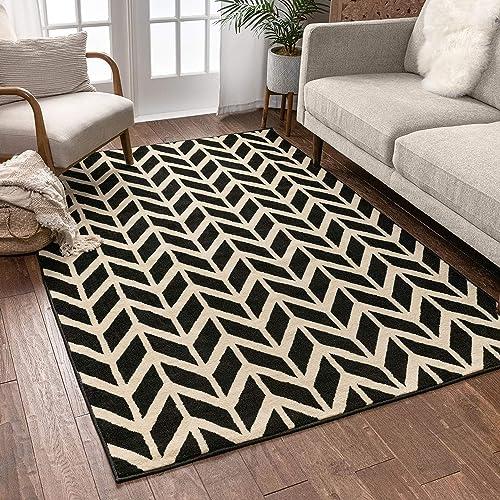 Well Woven Chevron Black 7'10″ x 9'10″ Area Rug Carpet