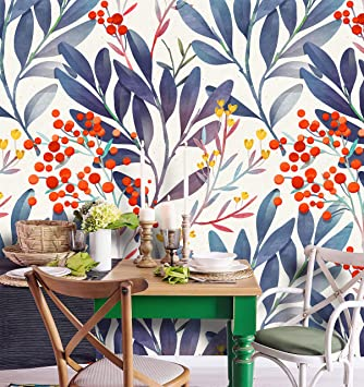 Peel-and-Stick Removable Wallpaper Blue Watercolor Floral Abstract Branch Leaves