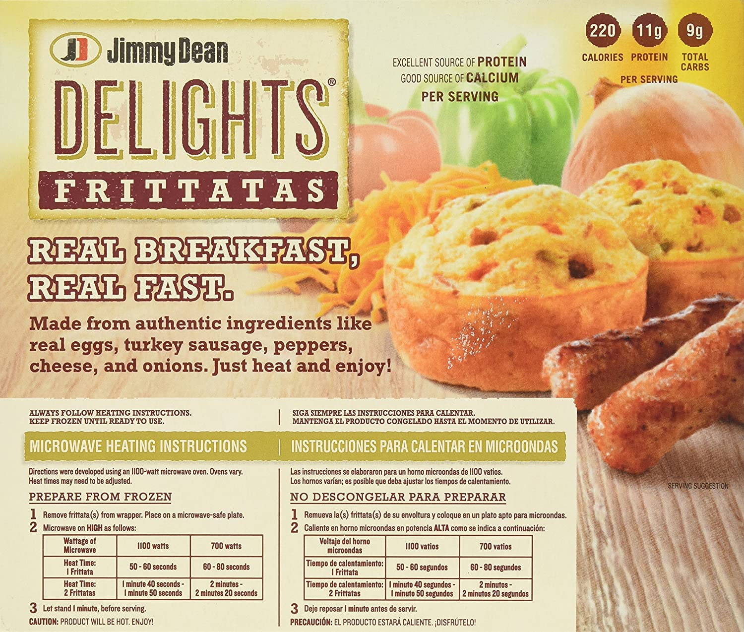 Jimmy Dean, Turkey Vegetables Delight Frittata, 6 ct (frozen): Amazon.com: Grocery & Gourmet Food