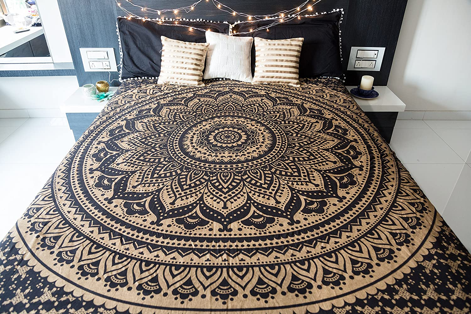 Bohemian Mandala Tapestry Hippie Wall Hanging Indian Bedcover Set Silk Star Oringina 200x200 Ombre Bedding Bedspread For Bedroom College Dorm Room Art Decor Or Home