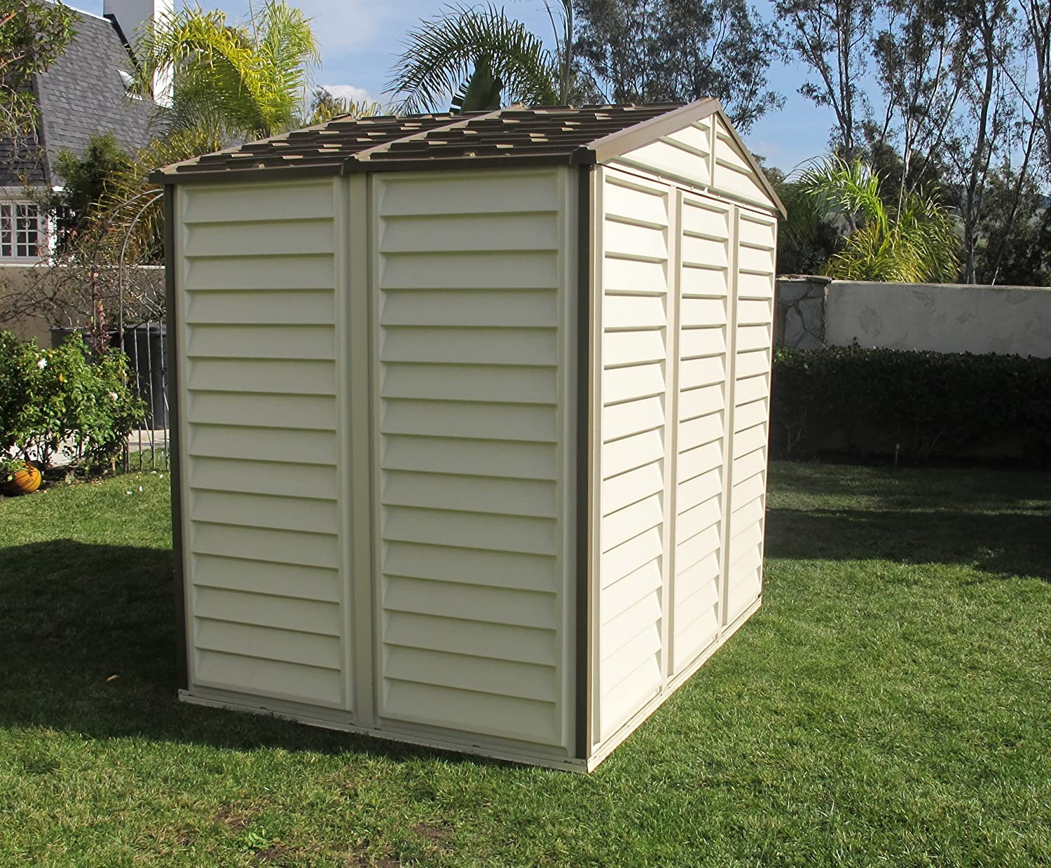 amazon com duramax 30114 store all vinyl shed with foundation 8