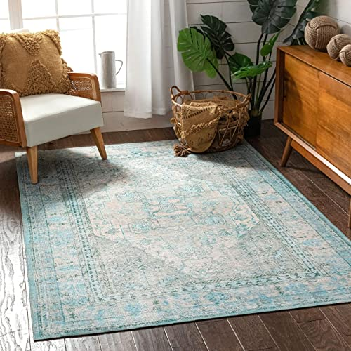 Well Woven Overdyed Helode Machine Washable Green Vintage Oriental Medallion Area Rug 8×10 7'7″ x 9'6″